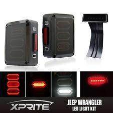 Smoke LED Rear Taillight 3rd Third Brake Light Combo For 07-17 Jeep Wrangler