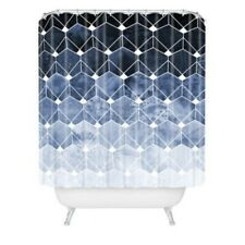 "Deny Designs Blue Hexagon And Diamonds Shower Curtain, 72"" x 69"" New"