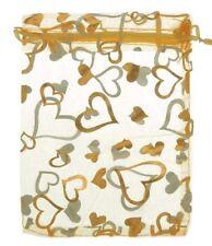 Bolsas De Organza Corazón de Oro X 3 - 7 Cm por 9 Cm-encantador para pequeños regalos!
