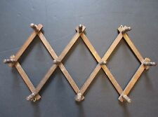 Vintage Wood Expandable Folding Rack 10 Peg Wall Hanger Mug Coat Hat Accordian