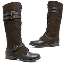 WOMENS LADIES MID CALF KNEE HIGH LACE ZIP MILITARY COMBAT ARMY BOOTS SHOES SIZE