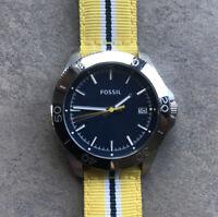 Fossil Mens Watch AM4477 Nylon Yellow Band Blue Dial And Rotating Bezel Bin U