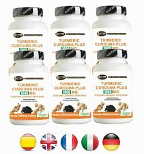Curcuma + Poivre Noir + Gingembre 360 Comprimés Turmeric Curcumine Pipérine 1000