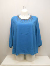 Women Top PLUS SIZE 2XL C.O.C. Solid Turquoise Embellished Beaded Neck ¾ Sleeves