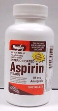Rugby EC Aspirin 81mg 1000ct Tablets  -Expiration Date 01-2019-