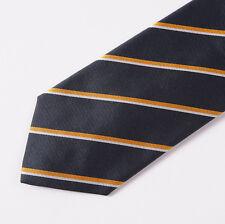 """New E.MARINELLA NAPOLI Dark Navy-White-Gold Stripe Classic 3.5"""" Silk Tie"""