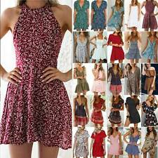 Womens Boho Floral Short Mini Dress Ladies Summer Beach Casual Beach Sundress