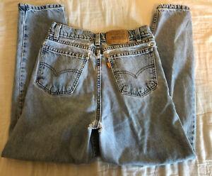 Vtg Orange Tab Destroyed LEVIS 31950-0214 Womens High Waist Tapered Jeans Sz12.5
