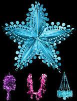 Deluxe LARGE foil hanging Christmas Decorations pink blue purple CHOOSE DESIGN