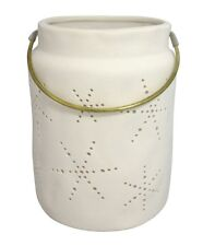 NEW - Threshold White Pillar Candle holder 7 inches x 5.25 inches
