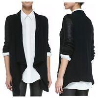 VINCE Womens Black Cardigan Jacket Open Front Drape Knit Foil Print Size XS $445