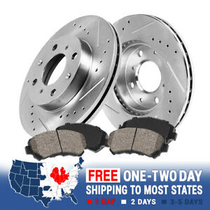 For 2007 - 2010 2011 Mini Cooper Front Drill Slot Brake Rotors & Ceramic Pads