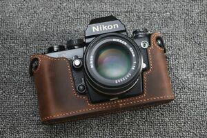 Genuine Leather Half Case for Nikon F3 Brown Suede (Distress)