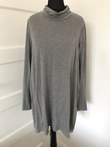 Pure Collection Soft Jersey Tunic UK 12 Roll Neck Grey Layering Lagenlook Lounge
