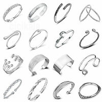 925 Silver Plated Cuff Bracelet Bangle Chain Wristband Women Fashion Jewelry NEW