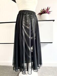 GINA BACCONI Skirt Size UK 12 BLACK GOLD METALLIC | Smart CASUAL Midi