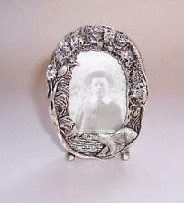 Vintage MINIATURE SILVER Plated PICTURE Photo FRAME Otter & Flowers - W Davies