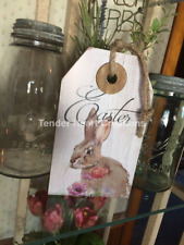 "PRIMITIVE WOOD SIGN~""EASTER""~Rabbit/Bunny/Flower Shelf Sitter Wall Hanging Jute"