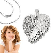 Engelflügel Anhänger Zirkonia Engels Flügel Stein Herz mit Kette Echt Silber 925