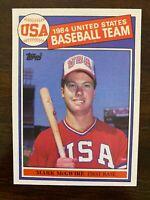 1985 Topps Mark McGwire Rookie #401, Team USA Oakland A's