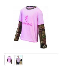 Youth Camo Layered Long Sleeve Tee Pink Browning Buckmark Mossy Oak Infinity