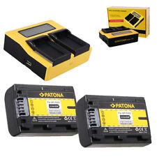 2x Batteria Patona + caricabatteria rapido DUAL LCD per Sony DCR-SR72,DCR-SR72E