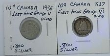 1936 1937 Canadian Silver Dime Ten cent (10c) Last +First King George V and VI