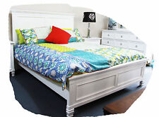 Tully QUEEN Size Hardwood Timber Snow White Bed - BRAND NEW