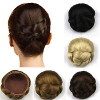 Womens Lady Chignon Synthetic Updo Hairpiece Clip-In Hair Bun Extension New DS