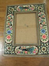 Persian Khatam hand painted on enamel frame inscribed with inlaid art