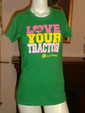 JOHN DEERE TEE SHIRT GREEN STRETCH COTTON SHORT SLEEVE CREW LOVE YOUR TRACTOR