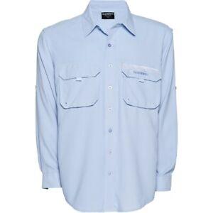 Shimano Skyway Blue Long Sleeve Fishing Shirt with Vented Back - UPF 30+