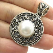 Vtg Sterling Silver Large Genuine Pearl Finely Detailed Ornament Round Pendant