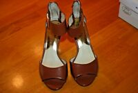 """Michael Michael Kors Brown Open Toe Size 6/Ankle Strap/3"""" Heel/Preowned-Sold As"""