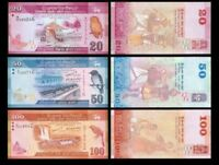 Sri Lanka Set 3Pcs 20 + 50 + 100 Rupees,Random Year,Uncirculated - UNC
