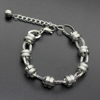 Men's Punk Silver Stainless Steel Figaro Curb Chain Bracelet Wristband Bangle