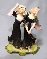 Old Germany Painted Bisque Dancing Flower Ladies Fantasy Figurine - Fabulous!