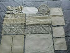 Lot of 12 Vintage Linens Embroidery Lace Crochet Runners Doilies Dressers Ivory