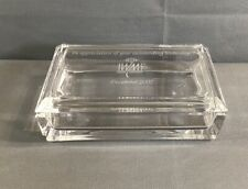 Tiffany & Co Crystal Lidded Trinket Jewelry Box Engraved Lid Signed