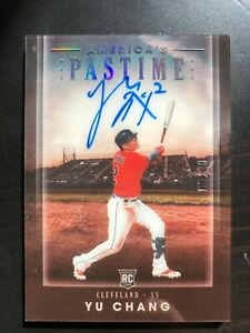 2020 Chronicles America's Pastime Auto #5 Yu Chang RC /10  Cleveland Indians
