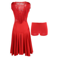 Damen Latein Tanzkostüme Tanzkleid Partykleid Fransenkleid für Tango, Rumba,