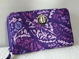 NWT Vera Bradley PAISLEY AMETHYST RFID Turnlock zip-around Wallet