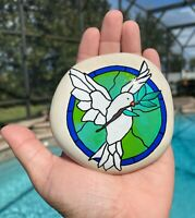 Hand Painted Rock Dove Bird Love Peace Stained Glass Memory Stone Art