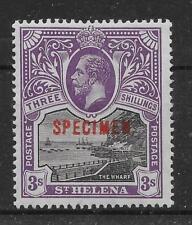 ST.HELENA SG81s 1913 3/= BLACK & VIOLET OVPT SPECIMEN MTD MINT