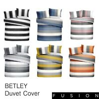 Fusion BETLEY Stripe Duvet Cover Set Reversible Bedding Blush Grey Blue Orange