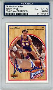 Jerry West Signed 1992 Upper Deck Basketball Heroes Card 5/9 PSA Slab 32897