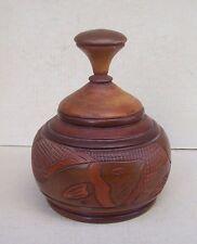 Vintage Turned Carved Wooden Wood Urn Jar w/ Lid Fish / Floral Motif