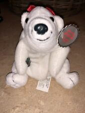 1997 Coca Cola Polar Bear bean bag plush with Red Bow and Coke bottle tags