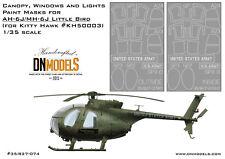 Canopy Windows Paint Mask AH-6J MH-6J Little Bird 1/35 Kitty Hawk K50003 DNModel