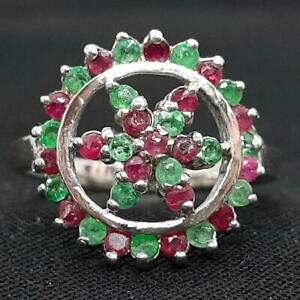 World Class .65ctw Mozambique Ruby & Emerald 925 Sterling Silver Ring Size 5.5